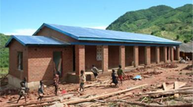 People building a school