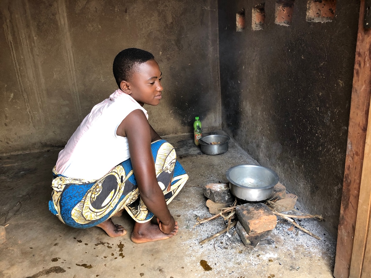 Cooking at the girls hostel in Kochilira